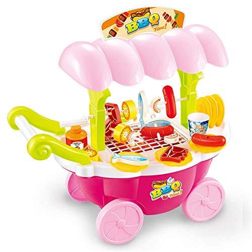Bueno para el cerebro CHNWJshoe Cerebro juego Juego de imaginación Alimentos barbacoa caliente perro carne de pescado carro de la carretilla conjunto de juguete con música y la iluminación for los niñ