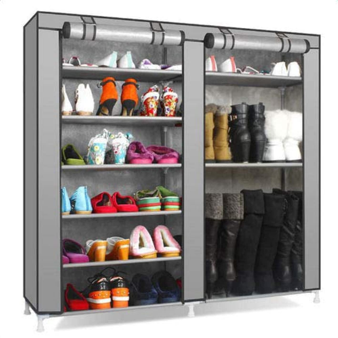 J&T Shoe Rack Closet Shelf Storage Portable Double Organizer Cabinet 9 Layer Durable Metal Shelves, Grey