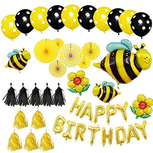 Honigbienen Themen Geburtstagsparty-Dekoration Geschenk, Happy Birthday Biene und Blumen Aluminium-Folienballons Punkte Latex-Luftballons Quaste und Papier-Fans Dekorationsset für Kinder Party