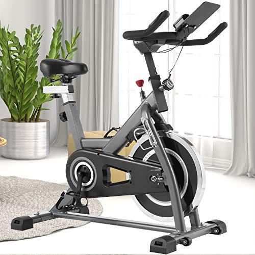 ANCHEER Heimtrainer Fahrrad - Indoor Cycling Bike, stationäres Fahrrad mit bequemem Sitzkissen für das Heim-Fitnessstudio, Stehen, Silent Belt Drive, iPad Holde, Load 380 LBS