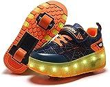 Led Luces Zapatos con Ruedas Dobles para Pequeños Niños y Niña Automática Calzado de Skateboarding Deportes de Exterior Patines Orange,32