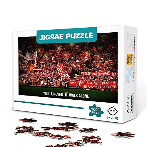 Liverpool Anfield Stadium-1000 PieceJigsaw Puzzle für Erwachsene Holz Familienspiel Stressabbau Schwieriges Herausforderungspuzzle für Kinder Erwachsene 75x50cm