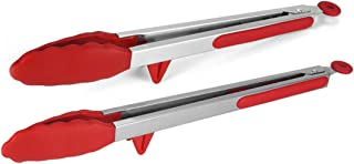 ETERNAL KNIGHT 2 Pack Black Kitchen Tongs, Premium Silicone BPA Free Non-Stick Stainless Steel BBQ Cooking Grilling Lockin...