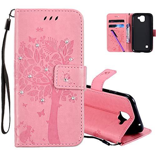 COTDINFOR LG K3 2017 Hülle für Mädchen Elegant Retro Premium PU Lederhülle Handy Tasche mit Magnet Standfunktion Schutz Etui für LG K3 2017 Pink Wishing Tree with Diamond KT.