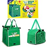 2Packs Reusable Shopping Cart Grab Bags and Grocery Organizer Designed for Trolley Carts by Modern Day Living (green)