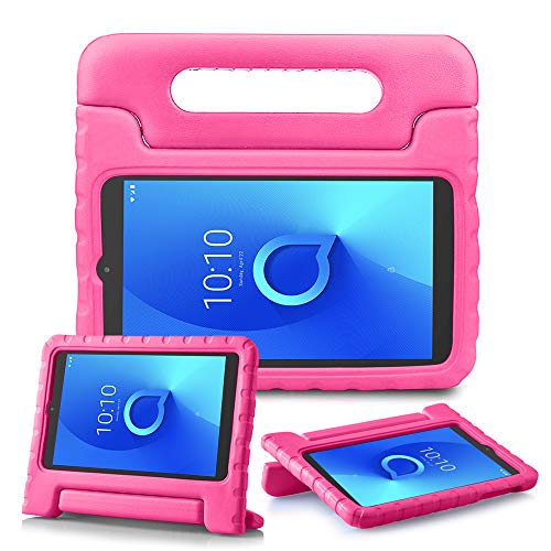 REGOKI - Funda para tablet Alcatel 3T / A30 de 8 pulgadas, con asa ligera y soporte para niños, compatible con T-Mobile 8' Alcatel 3T 2018 (modelo 9027W) / Alcatel A30 2017 (modelo 9024W) (rosa)