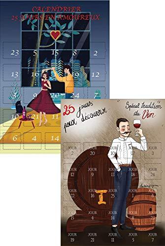 Calendrier de l'avent Noel x 2 Adultes et couple - Vin et Vie de couple- Noel adulte homme femme - calendriers avant Noel 25 jours