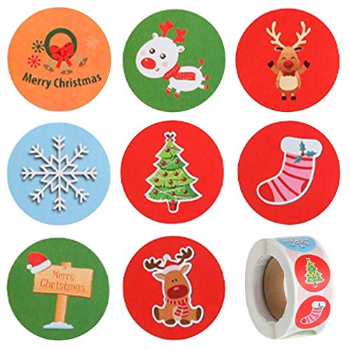 500pcs Christmas Stickers Roll - 1 inch 8 Designs Christmas Holidays Stickers Round, Great for Holiday Greeting, Sealing, Gifting, Gift Decorations, Amazing Choice for Kid's Gift (Color 3)