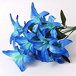 ShineBear New 1 Bundle Silk Lily Artificial Flowers for Wedding New Year Christmas Home Vase Decora Accessories for Table Fake Narcissus – (Color: Blue)