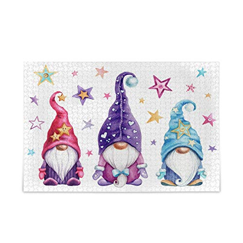 Toprint Watercolor Magic Gnomes Stars Jigsaw Puzzle Adults Kids Floor Puzzles 500 Pieces Challenging Creative Educational Toy Games for Teen Children Gift