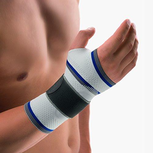 Bort 112920 medium rechts silber ManuBasic Handgelenkbandage, rechts oder links tragbar in verschiedenen Farben, rechts medium, silber