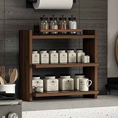 ZEN, portaspezie con 3 ripiani – Scaffale in legno per spezie – Organizer versatile per cucina, bagno, ufficio (Noce)