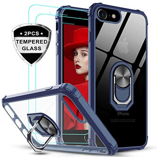 LeYi Funda iPhone SE 2020,iPhone 7/8 con [2-Unidades] Cristal Vidrio Templado,Transparente Carcasa con 360 Grados iman Soporte Silicona Bumper Antigolpes Armor Case para Movil SE 2,Clear Azul