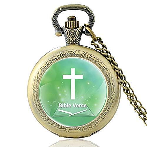 Vbnmda Biblia de Bronce Retro Verso Cruz Reloj de Bolsillo de Cuarzo V