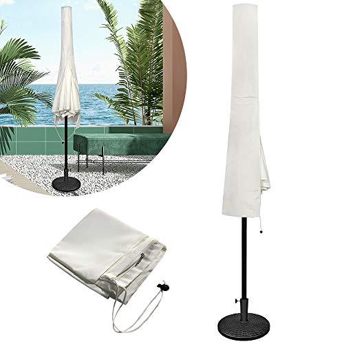 HENGMEI Schutzhülle für Sonnenschirm Abdeckhauben für Ø 300 cm Sonnenschirm Polyester Schutzhülle Ampelschirm mit Reißverschluss, Beige