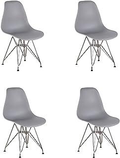 N/C – Juego de 4 sillas de comedor con patas de metal cromado estilo industrial, cocina, restaurante (gris)