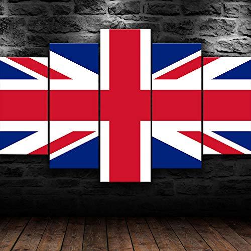 45Tdfc 5 Piezas Reino Unido Reino Unido Bandera Grande Fondo Pintura de la Pared La impresión de la Imagen en la Lona Art Fotos de la Obra para la Decoración Moderna del Ministerio del Interior