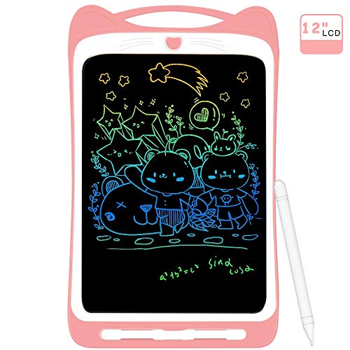 LCD Writing Tablet for Kids 12 Inches, AGPTEK Colorful Graphics Writings Pads Drawing Board with Lock Switch for Home, Office, School, Pink