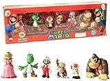 No Figura de Anime Super Mario Bros 6 Unids/Set PVC Jouets Mario Luigi Yoshi Champignon Donkey Kong Dans Modelo de Anime Escultura Colección Regalo