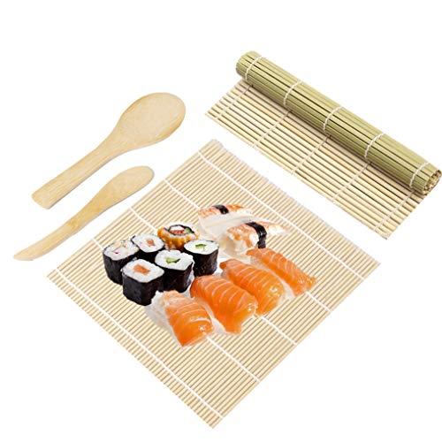 Sushi Set, 4 Teile Sushi Matte Bambus Set Für Anfänger DIY, Bambusmatte Sushi /Sushi Starter Set/Sushi Zubehör Inkl 2 Sushi Matte, 1 Reispaddel, 1 Reisstreuer
