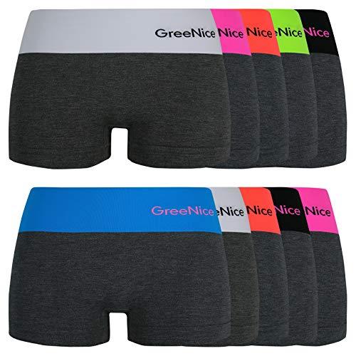 ReKoe 10er Pack Damen Hotpants Unterhose Panty Unterwäsche Microfaser Dessous Gogo, Größe:S-M = 36/38