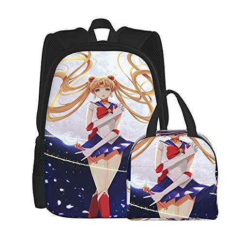 Sa_Ilor Poster Mo_On - Juego de mochila para ordenador portátil, mochila de hombro para estudiantes con bolsa de almuerzo (2 piezas), Negro, Talla única