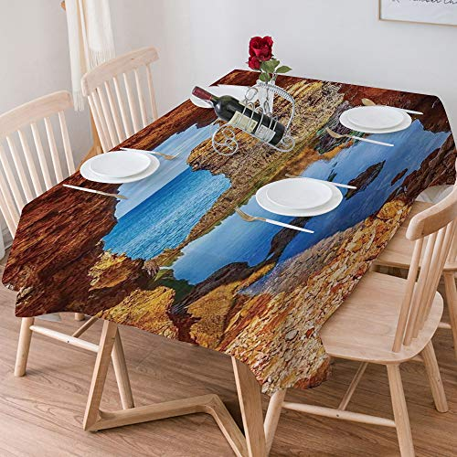 Tablecloth Rectangle Cotton Linen,Seaside Decor,Cavern Rocks by the Pacific Waters with Stunning Aust,Waterproof Stain-Resistant Tablecloths Washable Table Cover for Kitchen Dinning Party (140x200 cm)