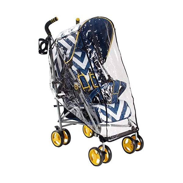 My Babiie MB02 Blue Chevron Stroller My Babiie Suitable from birth to maximum 15kg Extendable 3 position canopy Lockable swivel front wheels 5