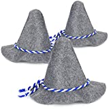 com-four® 3X Seppelhut, traditioneller Filzhut für Oktoberfest, Karneval oder Fasching, großer Trachten-Hut aus Filz mit blau/weißer Kordel (03 Stück - Seppelhut groß)