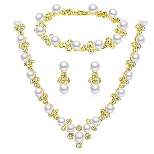 BiBeary Donna Noble Nozze Sposa Kristall Perle simulate Elegante Dangle Parure di Gioielli Collana Bracciale Orecchini Argento-Tono
