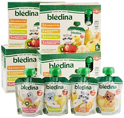Blédina, Gourdes Purées de Fruits bébé, Cocktail de Fruits, Dès 8 Mois, 90g (Packx32)