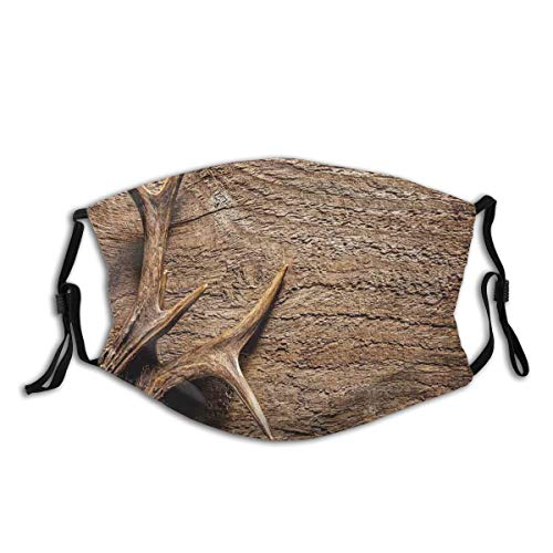 DINANY Deer Antlers On Wood Table Rustic Texture Surface Hunting Season Decorating Dust Washable Reusable Filter and Reusable Mouth Warm Windproof Cotton Face
