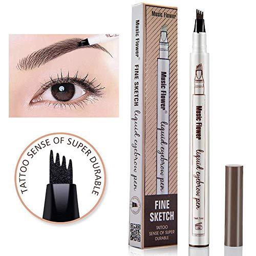 Xiton 1PC Super Tattoo Augenbraue-Feder mit vier Spitzen Langlebig Brow Feder wasserdichten flüssigen Augenbrauenstift Gabelspitze Brow Gel für die Augen Make-up (04 Schwarz)