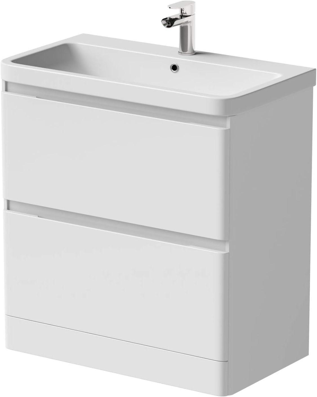 Bathroom Cloakroom Vanity Unit Wash Basin Base Cabinet Two Drawers Storage White