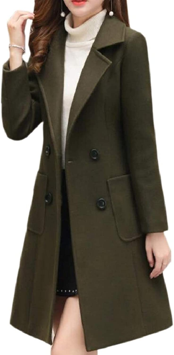 PujinggeCA Womens Wollen Double Breasted Chunky Pea Coats