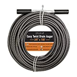 Drainx Easy Twist Drain Auger   Flexible Plumbing Cables for Cleaning Drainage Clogs Includes Storage Bag and Protective Gloves, 3/8' Diameter, 100 FT