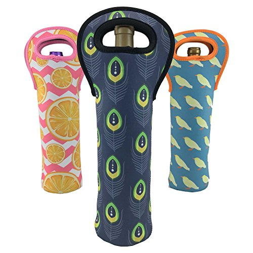 Wine Sleeve Tote Bag 3-Pack Insulated Neoprene Bottle Carrier by Bever Products (Peacock, Birds, Citrus)