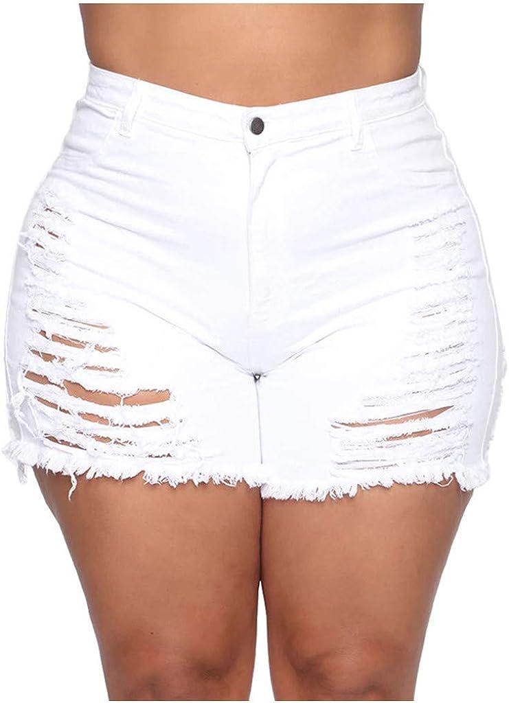 Boshivw Jeans Shorts for Womens High Rise Ripped Hole Sexy Denims Frayed Raw Hem Cut Off Shaping Hot Denim Short Pants