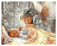 数字油絵 赤ちゃんと女の子の塗りの天使キャンバスDIYの手作りの塗料 (Color : 15, Size (Inch) : 50x65cm NO frame15x15 cm NO frame)