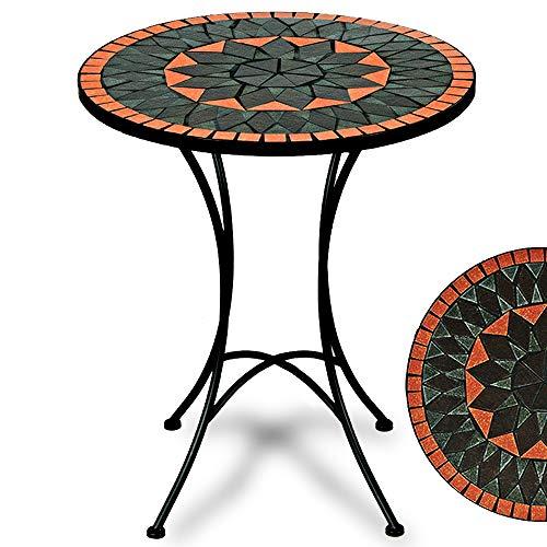 Deuba Bistrotisch Terracotta Mosaik Tisch Ø 60 cm Höhe 70 cm pulverbeschichtetes Metall Terrassentisch Garten Tisch