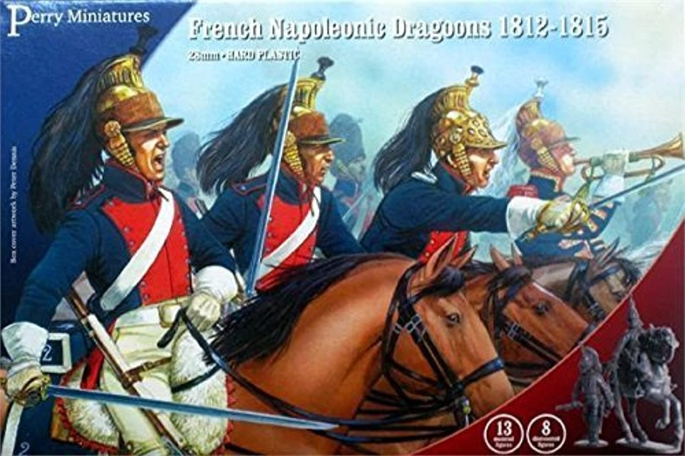 Perry Miniatures FN130 French Napoleonic Dragoons 28 mm Hard Plastic Figures x13 by Perry Miniatures