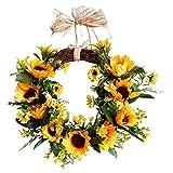 YISUNF Flores Artificiales 16 Girasol Granja rústica Decorativa de la Flor de la Guirnalda, de imitación de la Guirnalda Floral for Todas Las Estaciones de Interior al Aire Libre