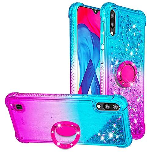 Dclbo Hülle für Samsung Galaxy M10 / A10, Handyhülle mit Ring Halterung Ständer Flüssig Glitzer Silikonhülle Stoßfest Bumper Hülle Transparent Schutzhülle für Samsung Galaxy M10/A10-Blau & Lila