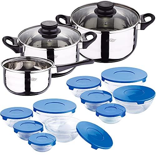 Bateria de cocina 5 piezas San Ignacio de acero inoxidable con set de 10 tupperware en vidrio con tapa azul