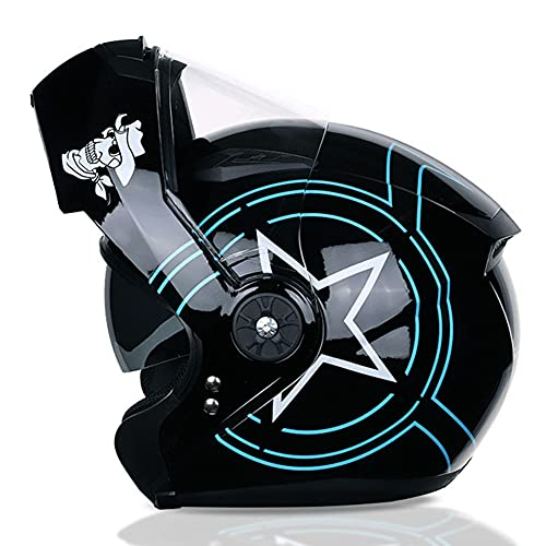 Jay Casco Modular de Moto con Tapa Frontal abatible ciclomotor de Crucero Vintage Cascos de Turismo Motocicleta Bobber Casco de Caballero Doble Visera para Hombre y Mujer,Star,XL(58~59cm)