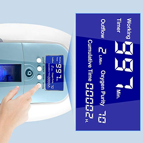 4YANG Portable Oxygen Machine 1-5L/min Home Oxygen Concentrator Generator 90% ± 3% High Purity Oxygen Machine Home with Remote Control for Home Travel Car Use