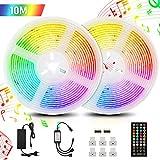 Tiras LED 10M,5050 tira led Tiras LED RGB tira led música 300 Leds strip light led con Control Remoto de 40 Claves,Impermeable, Multicolored, para Room,Casa y Cocina, Fiesta, DIY