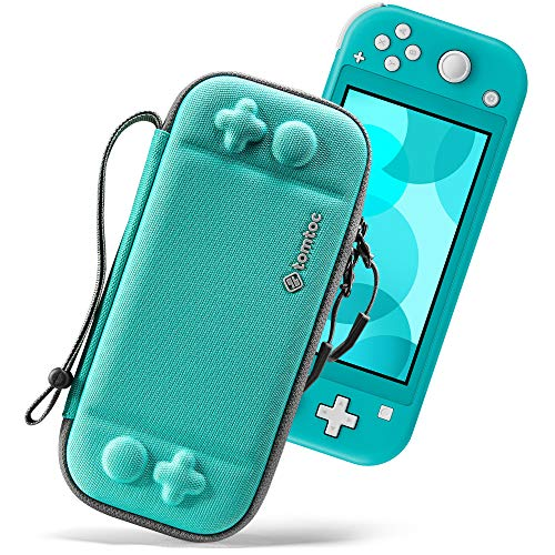 tomtoc Ultra Slim Case for Nintendo Switch Lite, Original Patent Protective Portable Carrying Case Travel Storage Hard Shell with 8 Game Cartridges and Military Level Protection, Turquoise