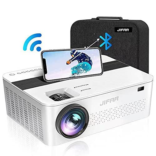 """WiFi Bluetooth Native 1080P Projector with 450""""Display,9000 Lux HD 4K Projector for Outdoor Movies,Support 4k,Dolby,Zoom, Keystone Correction,Compatible with TV Stick,HDMI,VGA.USB,Smartphone,PC"""