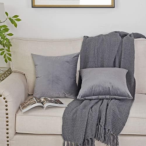 Emooqi Cojines de Terciopelo para Sofa, 45 x 45cm Decoración Cuadrado Fundas de Almohada 2 Piezas Funda Cojin para Cojines para Dormitorio y Sala de Estar Terciopelo Funda de Cojine 18''x18'' -Gris